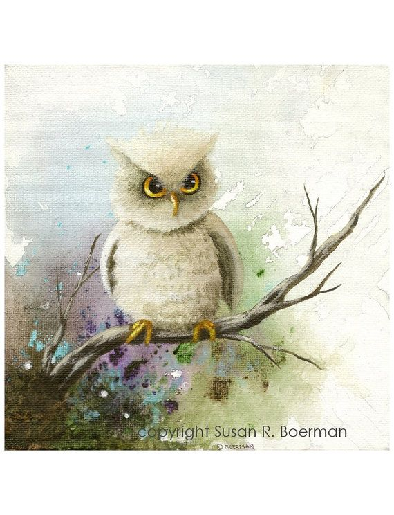'White Owl on A Branch with Mottled Background' by Susan R. Boerman