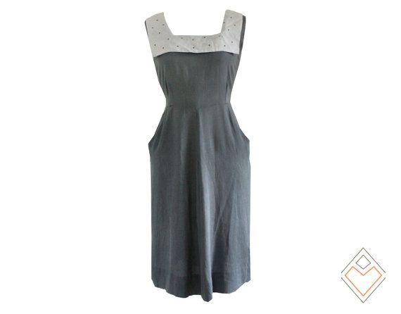 1930s nautical vintage dress //  gray vintage by AnatomyVintage, $128.00