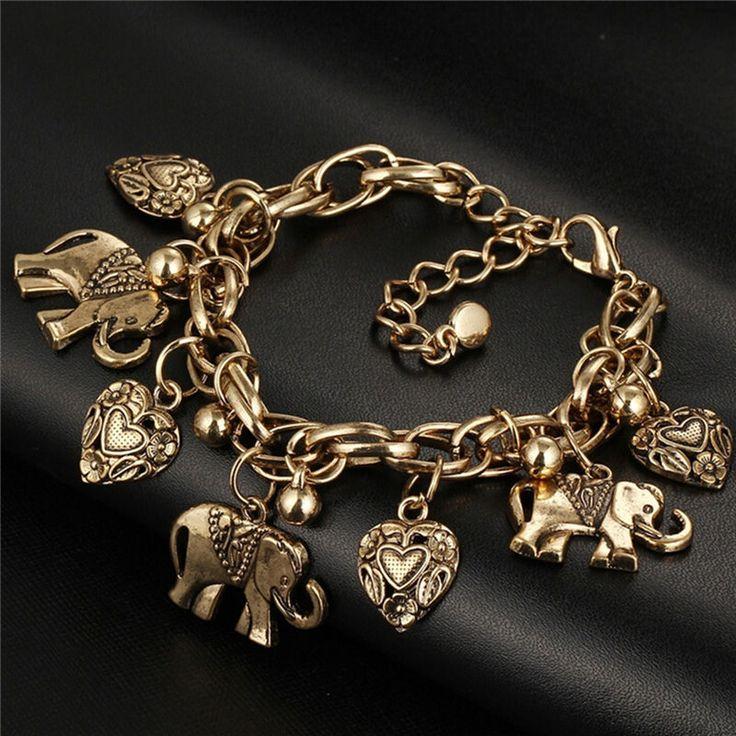 Women Vintage Bracelet Elephant Heart Bead Pendant Bracelets Fashion JewelryBBUS #Unbranded #Fashion (a real one)
