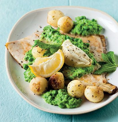 Angelfish with smashed peas