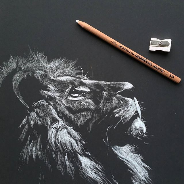 White Charcoal on Strathmore Artagain Black Paper