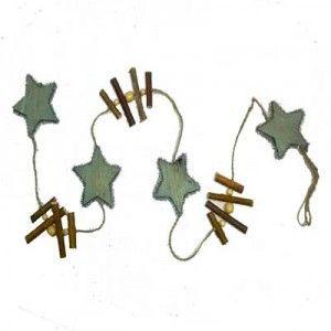 Γιρλάντα με ξύλινα πράσινα αστεράκια 100cm