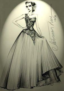 DESENHOS DE MODA: Desenho de Moda - Vestido de noiva com saia plissa...