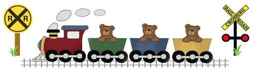 """Teddy Bear Train Wall Mural or Wall Border for baby nursery or kids room decor - measures 29"""" Wide and 8"""" Tall #decampstudios http://cgi.ebay.com/ws/eBayISAPI.dll?ViewItem=281162949591"""
