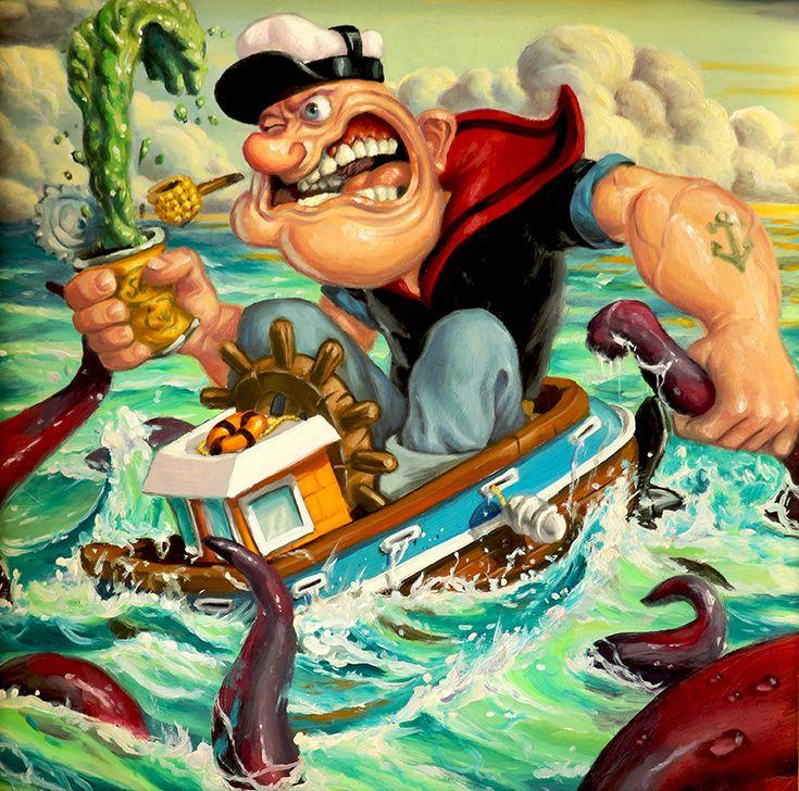 """Popeye"" by Jonathan Bergeron (Johnny Crap)  http://popeyeartshow.tumblr.com/https://www.facebook.com/events/906739306021159/?fref=tswww.herocomplexgallery.com"