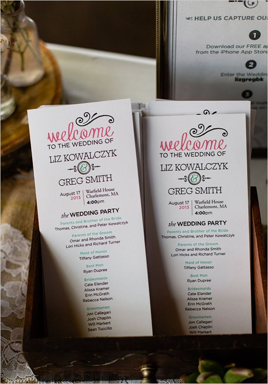 cute wedding programs #weddingprogram #weddingceremony #weddingchicks http://www.weddingchicks.com/2014/02/06/rhythm-and-recovery-wedding/