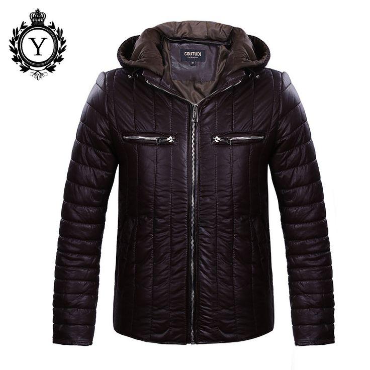 COUTUDI Fashion Winter Jacket Men Solid New Jaqueta Masculina Coat Stylish Winter Down Jackets Zipper PU Warm Coat