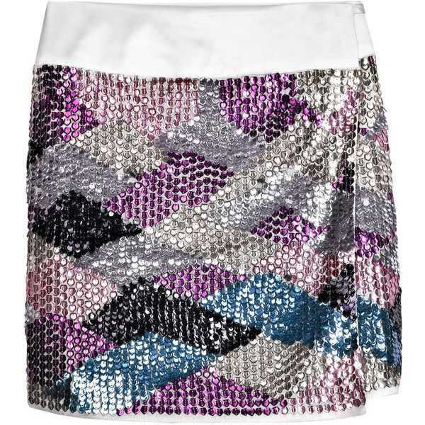 Adam Sequined wrap skirt ($198) ❤ liked on Polyvore featuring skirts, mini skirts, bottoms, sequin, saias, women, white skirt, white sequin mini skirt, sequin mini skirt and white mini skirt