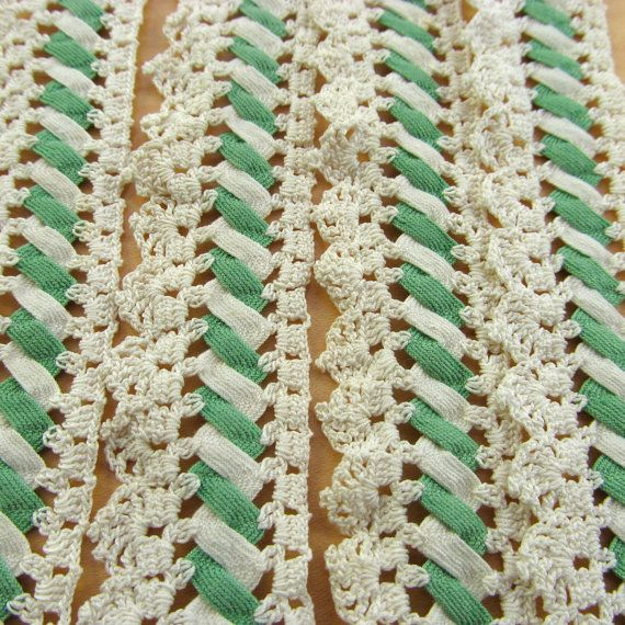 Vintage Hand Crocheted Lace Trim, Sewing, Rick Rack, Two Pieces, Hand Made -- I love crochet and rick rack.  Got to try it sometime.