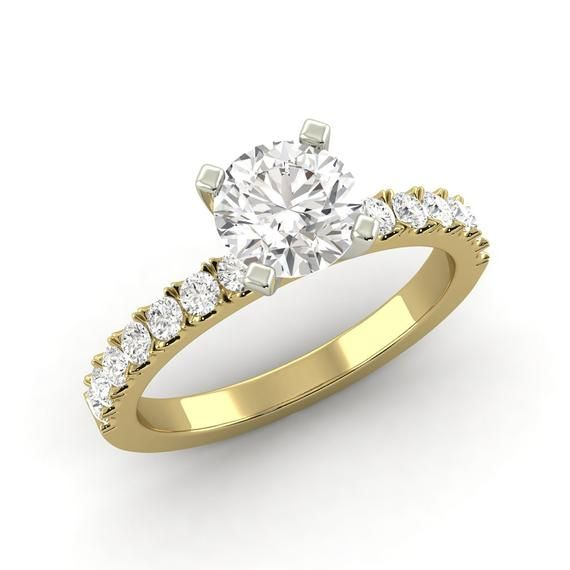 0,95 ct Gesamtgewicht Diamant, rund, Brilliant G SI1, verstärkter Verlobungsring, Sonderanfertigung Ava