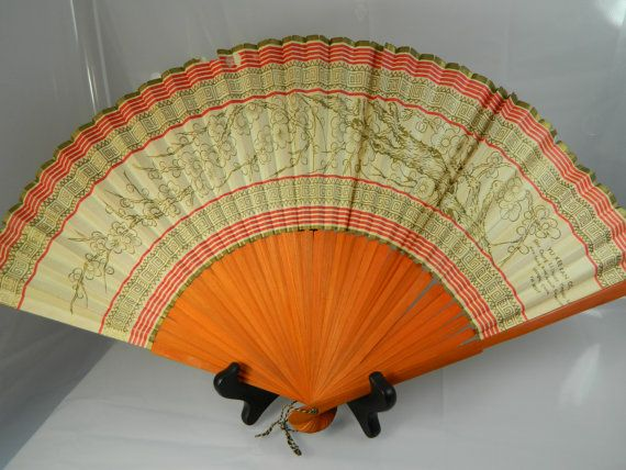 Chinese Hand Painted Black Fan With Faces