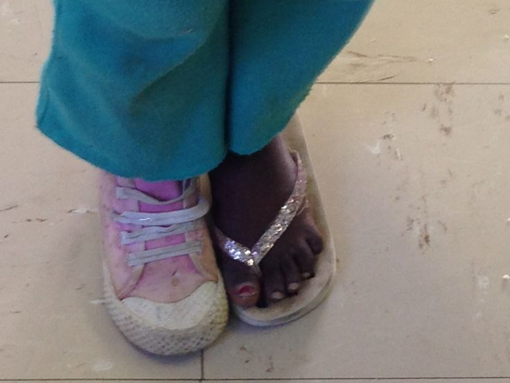 "Loved looking down and seeing the most gorgeous girl at The Hope Centre wearing these ""shoes"" with the biggest smile one could ask for...so precious."