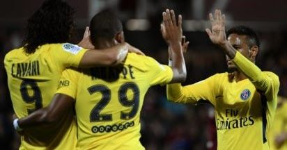 Kylian Mbappe scored on his debut as Paris Saint-Germain eased to a 5-1 away thumping of 10-man Metz in Ligue 1on Friday.  Neymars pin-point through ball created the opening goal for Edinson Cavani in the 31st minute only for Emmanuel Riviere to head in an equaliser before half-time.  But the game was all but ended in the space of three second-half minutes as Benoit Assou-Ekotto saw red for a lunge on Mbappe before the youngster netted his debut strike.  PSG ran riot late on with Neymar…