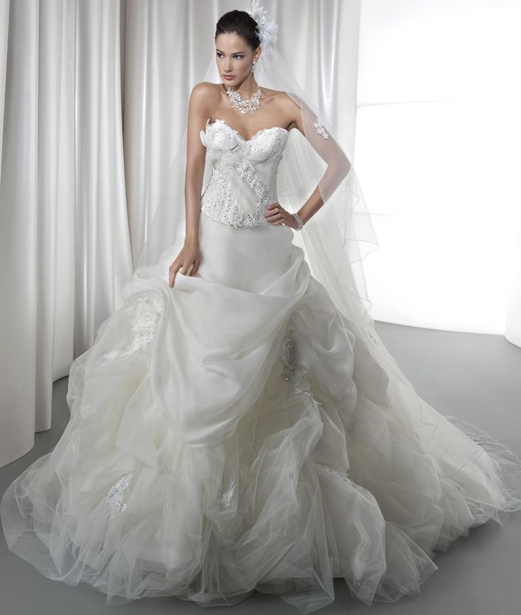 2016 Young Brides Wedding Dresses Demetrios Sweetheart Neckline Beaded Draped Organza Ball Gown Bridal Gowns with Hand Flowers And Lace Up from Nicedressonline,$228.75 | DHgate.com