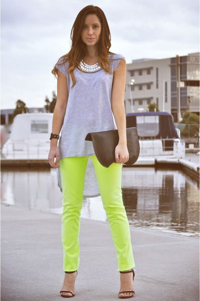 Neon yellow denim with a boho top.