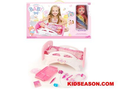 Kidseason Toys, Dolls & Set, Baby Dolls, 14 INCH MUSICAL BABY DOLL WITH BED AND DOCTOR MEDICAL KIT TOYS,China