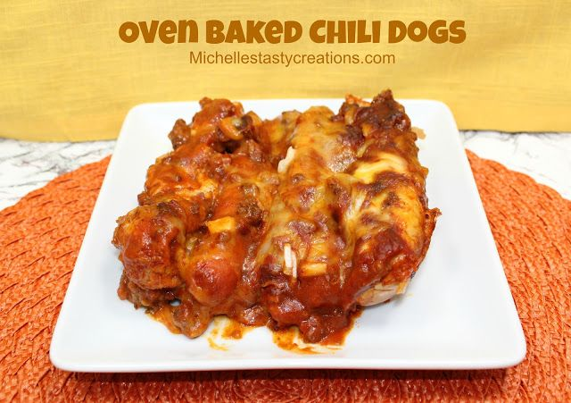 Oven Baked Chili Dogs http://www.michellestastycreations.com/2012/12/oven-baked-chili-dogs.html
