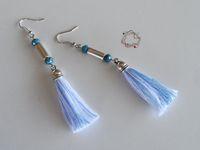 Earrings : Wight & Cyan Tassel Earrings