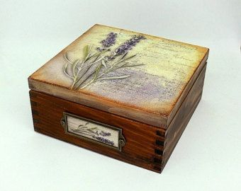 Caja de madera del té, caja de joyería, caja de decoupage, caja de estilo vintage, caja de té de lavanda, lavanda vintage caja, caja de té marrón