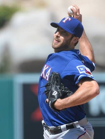 Apr 26, 2015; Anaheim, CA, USA; Texas Rangers relief pitcher Anthony Bass (63) during the game against the Los Angeles Angels at Angel Stadium of Anaheim. Rangers won 5-4. Mandatory Credit: Jayne Kamin-Oncea-USA TODAY Sports
