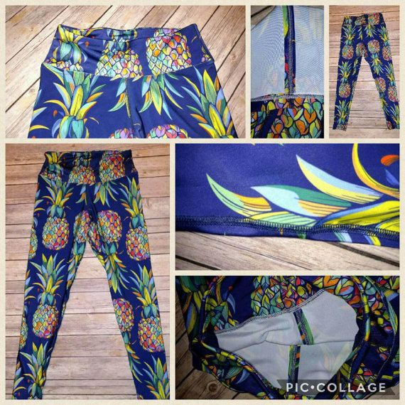 Active Wear Pineapple Leggings    Designed by myself and made in the USA!!! That's right.. the USA, not China or Vietnam!!! The quality is absolutely amazing!!! They are made of a very high quality polyester/spandex fabric that provides a 4 way stretch for complete mobility and moisture releasing technology to help keep you dry, flat lock seams to prevent chafing and comfortable yoga waistband. It's a thick fabric and is not see through, will not fade or develop holes like LLR has been with…