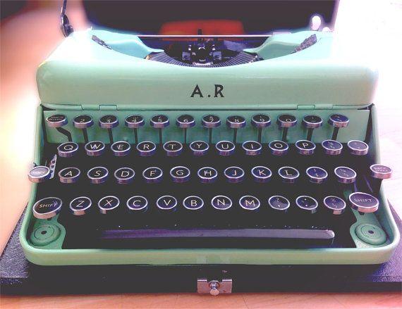 Personalised Green Vintage Typewriter - Initialed 1950s Working Typewriter