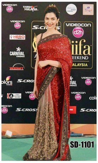 Buy Dipika iifa Red Saree Online India - 2376964