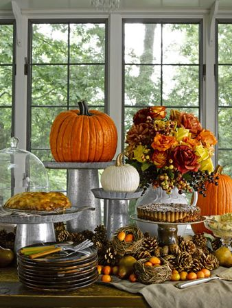 Buffet autumn fall tablescape