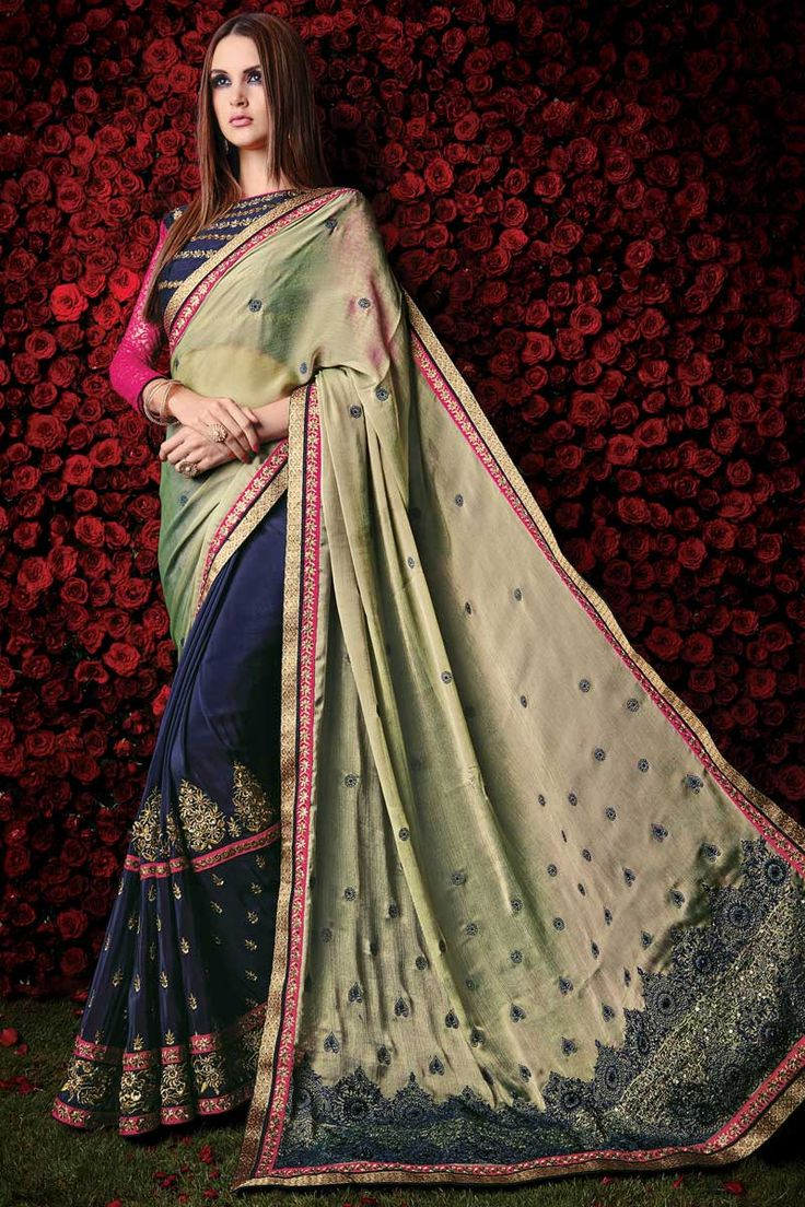 Andaazfashion pr sente cr me bleu georgette saree avec for Concepteurs de robe de mariage australien en ligne