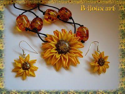 b-ijouxart: Come fare un girasole (Sunflower tutorial) - super sunflower pendant and earrings!