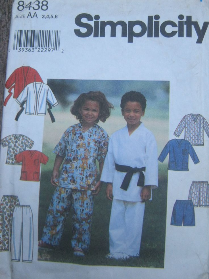 Sewing Pattern for Kids Scrubs, Martial Arts Wear. Outfit, Uniform, Pyjamas, Simplicity 8438 Size 3,4,5,6 by lechatrire on Etsy