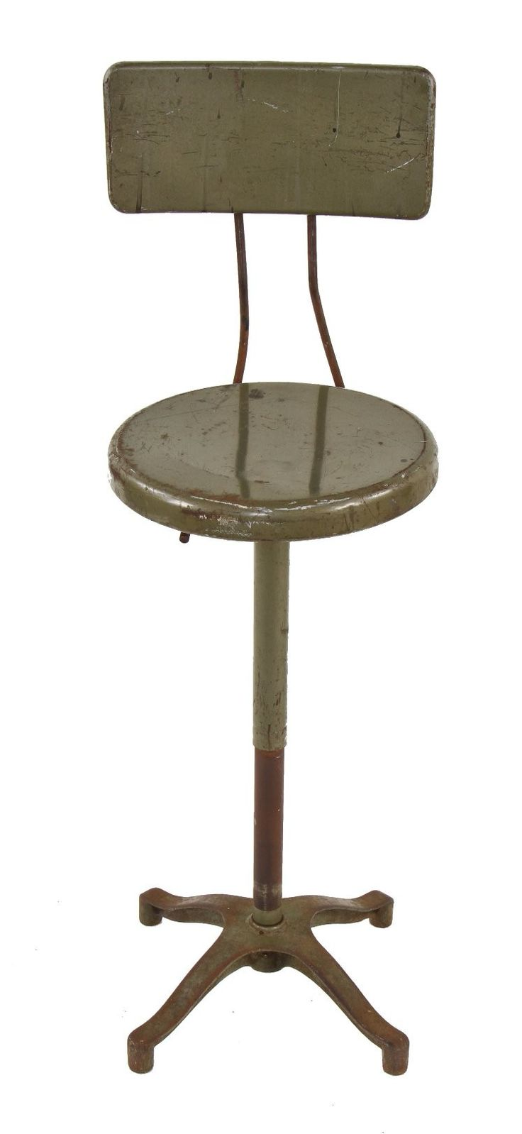 practical early american vintage industrial  adjustrite  army green enameled telescoping factory workbench stool with  sc 1 st  Pinterest : industrial work stool - islam-shia.org