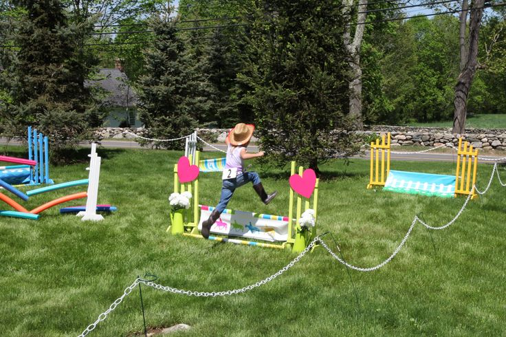 Backyard horseless horse show birthday party.  Equestrian Neightion jumps and party supplies make your horse lovers dreams come true!