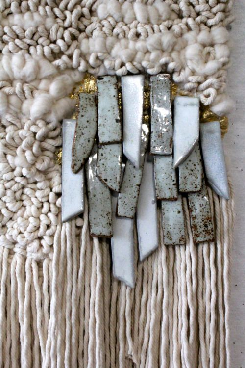 Weaving by Janelle Pietrzak of All Roads.  Fiber, goldleaf and stoneware.  2015.