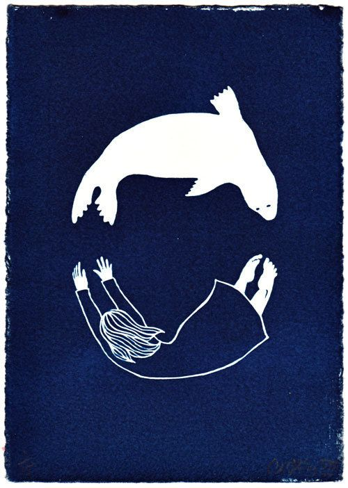 """Seal/Woman"", 2012 - cyanotype on Hahnemühle etching paper; by C.A.Hiley"