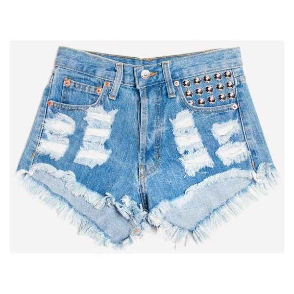 450 Stone Studded Distressed Shorts ❤ liked on Polyvore featuring shorts, highwaist shorts, distressed high waisted shorts, cut-off shorts, destroyed shorts and high waisted ripped shorts