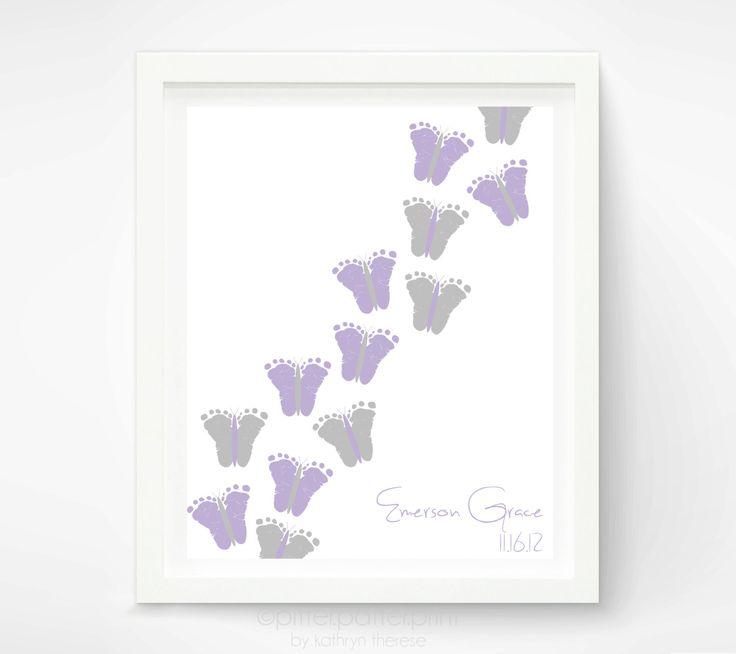 Baby Girl Purple Gray Nursery Decor  Baby by PitterPatterPrint, $32.00