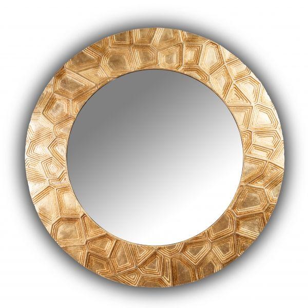 Hollow Mirror - дизайнерское круглое зеркало в деревянной раме. Ручное декорирование.
