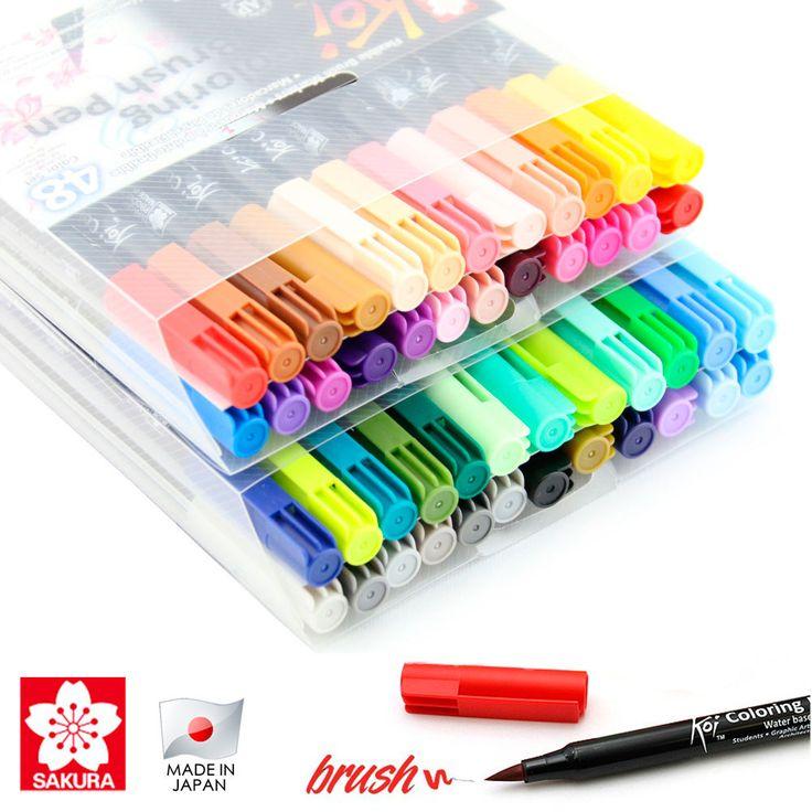 Caneta Pincel Koi Coloring Brush Sakura com 48 Cores - XBR-48 - CasaDaArte