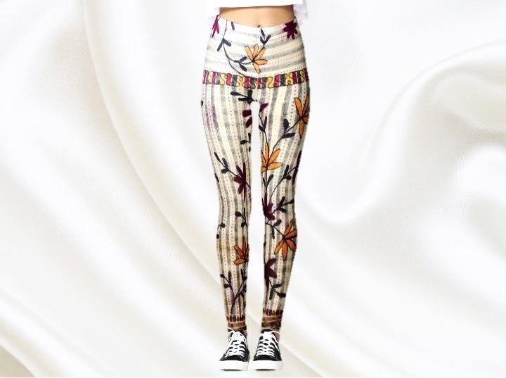 Boho Yoga pants for women. Indian yoga leggings or ethnic gym pants. Dance leggings. From Aritkrti.