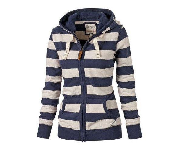 2017 Autumn Long Sleeved Casual Blue Striped Women Hoodies Zipper Pockets Leisure Sweatshirts Plus Size S-XL Fitness Sportcoat