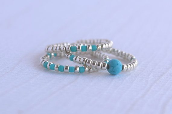 Stretch Ring Set  3 Stackable Bead Rings  Silver & turquoise