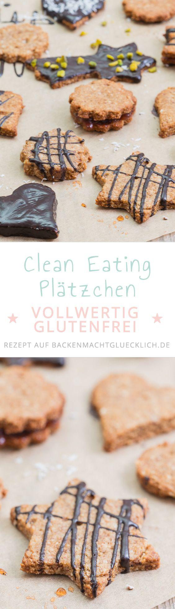 Tolle Clean Eating Kekse zum Ausstechen. Die gesunden Weihnachtsplätzchen bestehen nur aus guten, natürlichen Zutaten, sind glutenfrei und verzichten auf Weißmehl und weißen Zucker