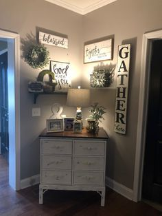 Ahh...the perfect amount of farmhouse style! I distressed the chest myself and love changing the decor of this little nook in my living room!!!