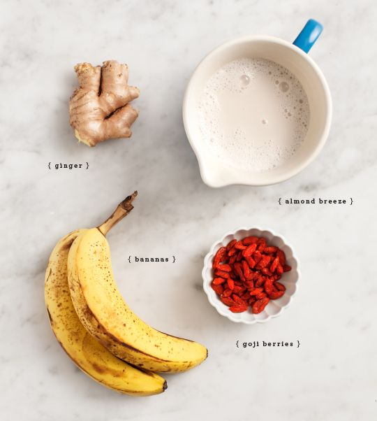 Another home-run smoothie from our friends at Love and Lemons. This one is perfect for the allergy season we are in -- goji berries are filled with antioxidants and we all know ginger and orange juice are both immune boosting...drink up!
