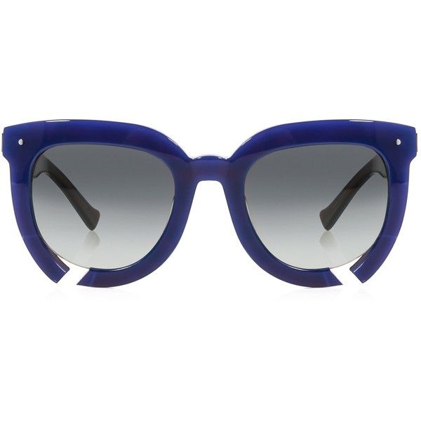Grey Ant - Incidental habit square frame sunglasses ($345) ❤ liked on Polyvore featuring accessories, eyewear, sunglasses, grey ant sunglasses, party sunglasses, party glasses, blue sunglasses and cut out sunglasses