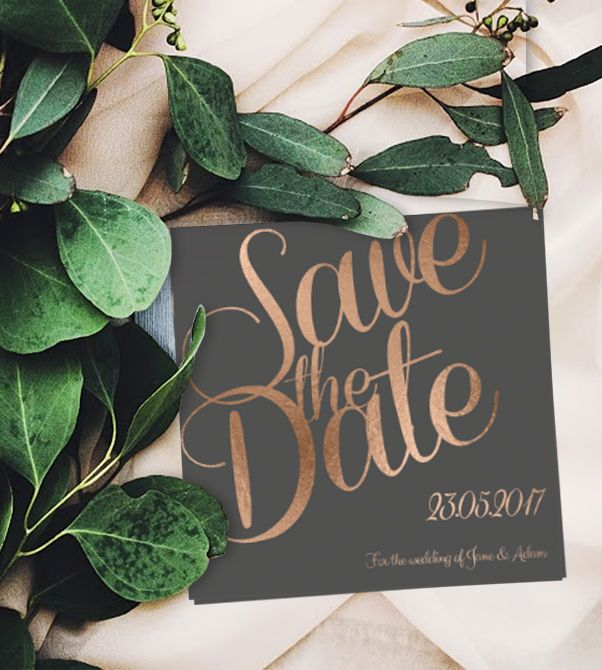 Online Customisable Save The Date Invitations - We love this copper and grey design, with stunning cursive font to make an elegant and stylish impression!