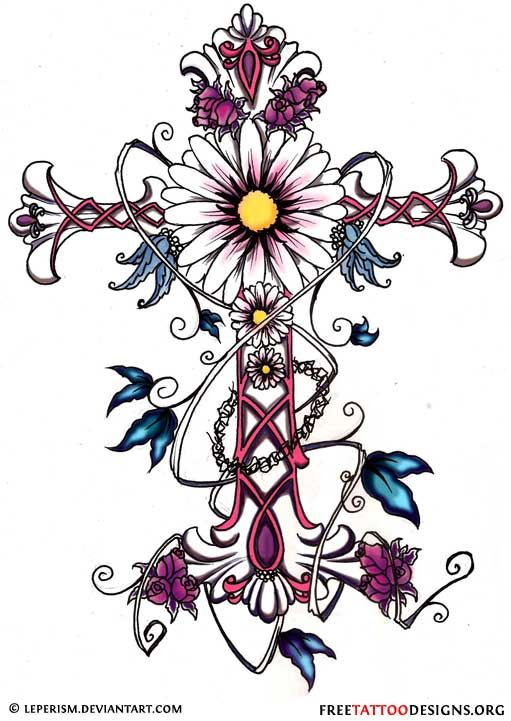 Cross tattoo with flowers and butterflies