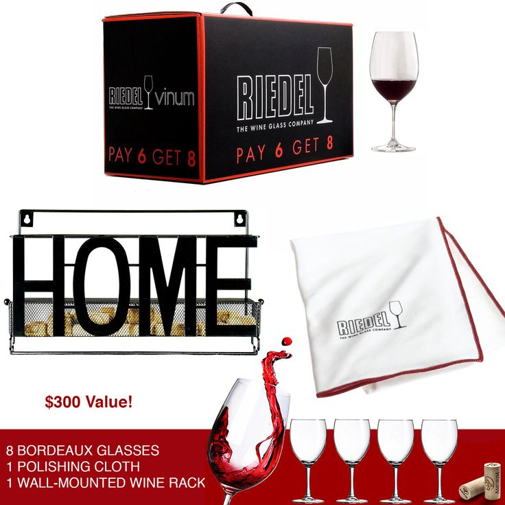 "1 Lucky wine connoisseur gets 8 Riedel Wine Glasses + matching large Riedel cleaning cloth & metal wall-mounted wine rack. $300 Total retail value, yours free if you win"" http://upvir.al/ref/10706074"