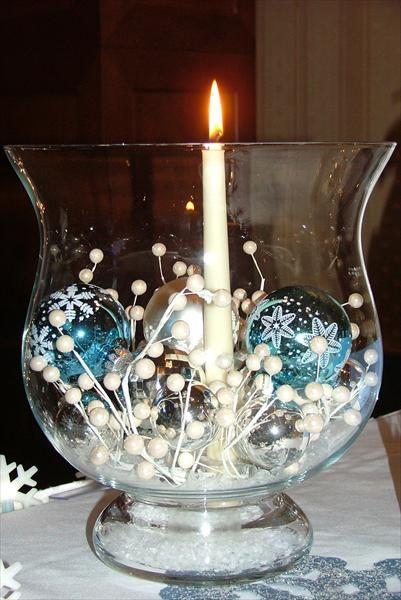 blue christmas centerpiece
